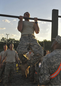 Soldier doing Chin Ups